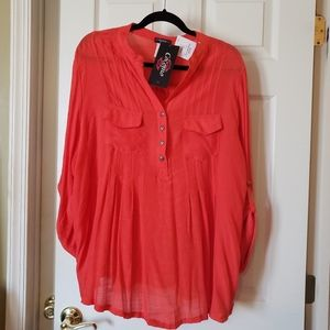 Pretty top with button detail in orange